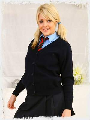 Gorgeous blonde Melissa looking stunning in college uniform and thick black pantyhose.